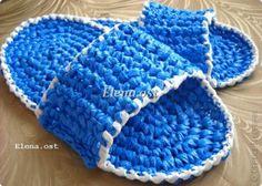 Shower slippers - plastic bag crochet slipper photo tutorial