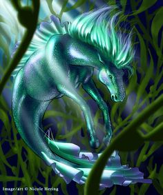 Hippocampus: The Sea Horse, Nicole ´PeaceLilly´ Hering, SciFi Fantasy Art Mythical Creatures Art, Mythological Creatures, Magical Creatures, Fantasy Creatures, Sea Creatures, The Animals, Dragons, Bark At The Moon, Mermaids And Mermen