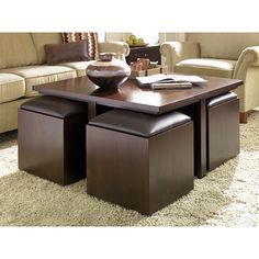 harper blvd crestfield dark brown coffee table/ storage ottoman