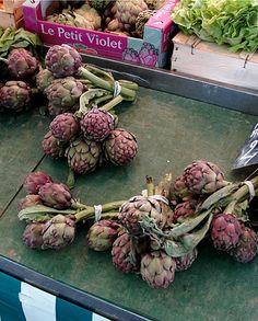 Purple Artichokes at a market in Provence by maki, via Flickr