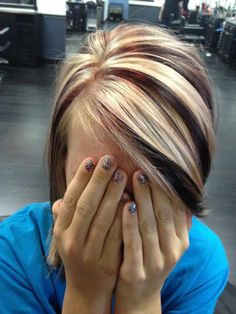 Chunky red and blonde by Callie Lathan ( her hair is awesome wonder why she covered her face)