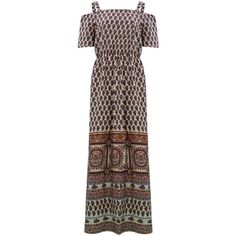 Influence Fashion Printed Bardot Gypsy Split Sides Maxi Dress (50 AUD) ❤ liked on Polyvore featuring dresses, multicolour, brown maxi dress, multicolored dress, colorful dresses, multi-color dress and multi colored dress