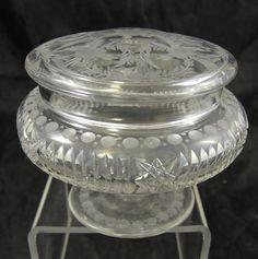 Elegant Antique Lady's Intaglio Cut Dresser Jar