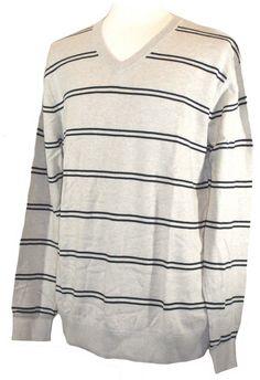 Nautica Mens Sweater V-Neck Striped Knit Cotton Blend Beige Sz XL NEW NWT $69.50 #Nautica #VNeck