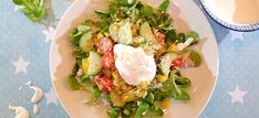Rijstsalade met tonijn, veldsla en een heerlijke yoghurtdressing Cobb Salad, Dinner, Kitchen, Food, Kitchens, Red Peppers, Dining, Cooking, Food Dinners