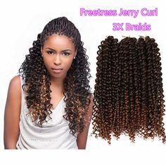 ombre freetress curly hair freetress crochet braid box braids Brazilian Hair
