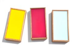 """slide-top color chip boxes -- Store special treasures in this handmade box, crafted in Copenhagen out of colored plexiglass and Danish wood. A sliding top reveals safely stored trinkets.    -  Wood/plexiglass   -  8.75"""" long x 4.25"""" wide x 2"""" deep"""