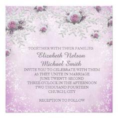 Christmas Lavender Roses Snowflakes Wedding Invite