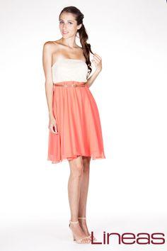 Vestido Modelo 17668 Precio $270 MXN Colores: Coral y Negro #Lineas #outfit #moda #tendencias #2014 #ropa #prendas #estilo #moda #primavera #vestido