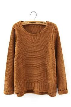 A must-have for chilly days, this waffle knit sweater features a round neckline and long sleeves. Yellow Long Sleeve Tops, Brown Long Sleeve Shirt, Long Sleeve Sweater, Long Sleeve Shirts, Yellow Sweater, Brown Sweater, Waffle Shirt, Khaki Shirt, Loose Sweater