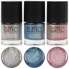 3pc Holographic Micro Glitter Nail Polish Set ($20) ❤ liked on Polyvore featuring beauty products, nail care, nail polish, nails and shiny nail polish