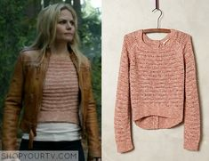Emma Swan (Jennifer Morrison) wears this pink marled pointelle pullover sweater in this week's episode of Once Upon a Time. It is the Anthropologie Moth Pointelle Midi Pullover. Buy it HERE for $49.95