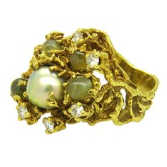 Arthur King Cat's Eye Pearl Diamond Free Form Gold Ring   From a unique collection of vintage more rings at https://www.1stdibs.com/jewelry/rings/more-rings/
