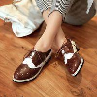 Women Oxford Retro Vintage Plus Size Flat Pump Brogue College Shoes Plus Sz 10