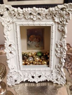Shadow box frame - recycled Christmas card - antique miniature glass ornaments. Shadow box from Hobby Lobby.