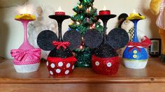 Disney wine glass candle holders