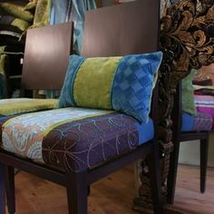 Upholstered Dining Chairs With Quilted Seats, Custom Cushions, Upholestered Vintage Settee by Jane Hall