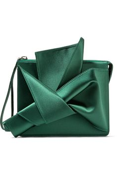 Forest-green satin Zip fastening along top Made in Italy