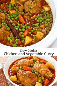This Slow Cooker Chicken and Vegetable Curry is a one-pot curry meal complete with vegetables. It looks just as tempting and delicious!   Food to gladden the heart at RotiNRice.com #RotiNRice