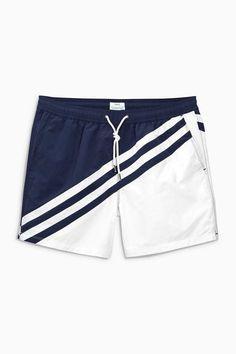 Buy Navy/White Colourblock Swim Shorts from the Next UK online shop Mens Swim Shorts, Sport Shorts, Boy Shorts, Moda Nike, Man Swimming, Alter, Sport Outfits, Navy And White, Menswear