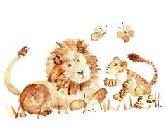 Lion Painting Boy nursery art Safari by LightheartedDreamer, $17.00
