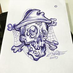 Adrien dorme's quick ballpoint pen sketch , pirate skull