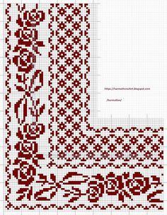 Cross Stitch Boarders, Cross Stitch Rose, Cross Stitch Flowers, Cross Stitch Designs, Cross Stitching, Cross Stitch Embroidery, Cross Stitch Patterns, Crochet Curtain Pattern, Crochet Patterns