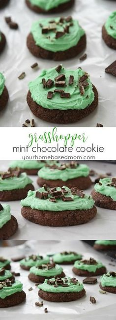 Home Made Doggy Foodstuff FAQ's And Ideas Grasshopper Mint Chocolate Cookies St. Patrick's Day Treats Recipe - Get Your Irish On With These Grasshopper Chocolate Mint Cookies. They Are The Perfect Way To Wear Your Green And Celebrate The Season Chocolate Mint Cookies, Chocolate Cookie Recipes, Easy Cookie Recipes, Dessert Recipes, Chocolate Work, Chocolate Heaven, Cookie Ideas, Yummy Cookies, Yummy Treats