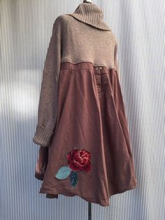 Upcycled Cowl Neck Sweater Dress Appliqué by SimplyCathrineAnn