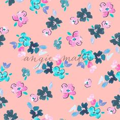 Cute Pink and Navy Watercolor Flower Pattern