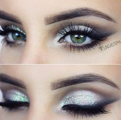 Cool toned glitter smokey eye
