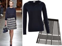 17 Foolproof Sweater-and-Skirt Combos to Wear This Fall - Embellished Sweater + Graphic Print - from InStyle.com