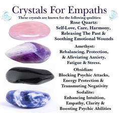 Crystals For Highly Sensitive People Rose Quartz, Amethyst, Obsidian & Sodalite for Intuition Energy Crystals And Gemstones, Stones And Crystals, Wicca Crystals, Gem Stones, Healing Gemstones, Types Of Crystals, Story Stones, Steven Universe, Crystal Healing Stones
