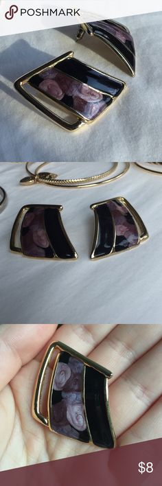 Vintage Earrings These earrings are gold black and purple. With push back posts. Jewelry Earrings