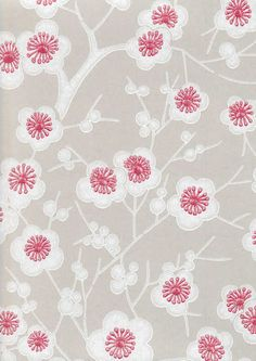 Kirsikkapuu wallpaper by Pihlgren & Ritola is adorned with blooming cherry flowers designed by Ritva Kronlund. The charm of Pihlgren & Ritola's wallpapers lies in their beautiful patterns but also in the traditional manufacturing method. Pretty Patterns, Beautiful Patterns, Flower Patterns, Color Patterns, Textile Patterns, Textile Prints, Textiles, Fabric Wallpaper, Pattern Wallpaper