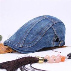75ee81a46b7 Unisex Men Women Denim Jeans Washed Newsboy Beret Hat Duckbill Golf Buckle  Cabbie Cap - Banggood