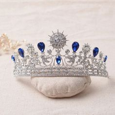 The new bridal crown blue crystal wedding hair accessories rhinestone bridal tiaras hair jewelry Queen headpiece Rhinestone Wedding, Crystal Wedding, Crystal Rhinestone, Crystal Crown, Silver Rhinestone, Bridal Hair Tiara, Bridal Crown, Tiara Hair, Bridal Headpieces