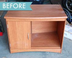Before  the after is adorable!! Reminds me of the play kitchens of my youth, the avocado green and pre-plastic days!!