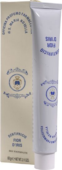 Santa Maria Novella IRIS Toothpaste. This non-abrasive toothpaste containing Iris powder, bloodroot , propolis, spearmint, cinnamon, clove and peppermint oils, white clay and bicarbonate of soda not only cleans and refreshes, but has strong astringent, anti-gingivitis and anti plaque properties as well. Limited hand-made production. Use twice daily as you would any tooth paste. You will notice a fresh natural mint taste and a unique cleanliness after you brush. Do not ingest.