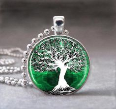I found 'Tree of Life, Green, Altered Art Pendant, Photo Pendant, Glass Dome Pendant with Ball Chain - no. 084-9' on Wish, check it out!