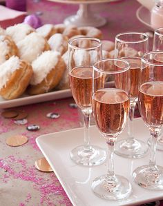 Sparkling rosé makes a pink party-appropriate alternative to the typical champagne. (via Design Sponge)