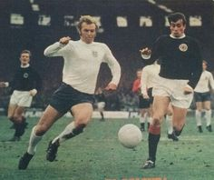 Scotland 0 England 0 in April 1970 at Hampden Park. Bobby Moore and John O'Hare chase the ball #HomeChamp