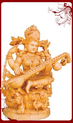 The lovely Saraswati sculpture is a glorious representation of classical Indian Handicraft and has been skillfully crafted from the finest whitewood by deft artisans. Saraswati is ardently worshipped especially by students and musicians as the powerful Goddess of knowledge, music and the arts. The expertise of the sculptor is seen in the deep symbolism and the use of ethnic Indian jewellery, derived from an ancient art form, practised by few. Bronze Sculpture, Sculpture Art, Sculptures, Desi Music, Saraswati Devi, Hindu Deities, Ancient Art, Art Forms, Archaeology
