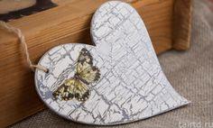Декупаж деревянных сердечек