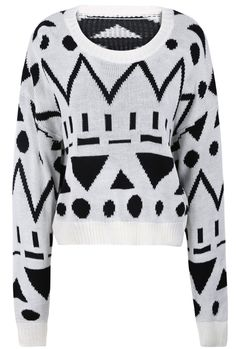 White Long Sleeve Geometric Pattern Crop Sweater US$22.30