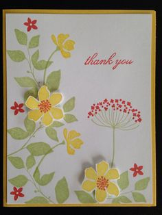 Stampin' Up set of 8 thank you cards by CardsbySaraHicks on Etsy, $25.00     No Directions for an Etsy product, but you can probably make it from looking at the image.  :))