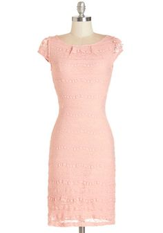 Lavishly Lovely Dress - Variation, Pink, Solid, Lace, Pastel, Sheath / Shift, Cap Sleeves, Summer, Knit, Good, Boat, Mid-length, Lace, Girls...