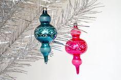 Christmas glass ornament Flashlight Blue Pink Christmas tree decoration by Retronom on Etsy