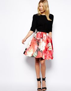 Ted Baker | Ted Baker Full Skirt in Rose Print at ASOS