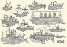 des poissons des bateaux des poiteaux.